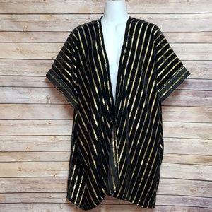 Black Velvet Metallic Gold Striped Kimono Cardigan